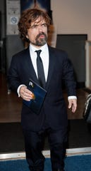 """""""Game of Thrones'"""" Peter Dinklage behind the scenes at the Emmys. The actor won supporting actor, drama series."""