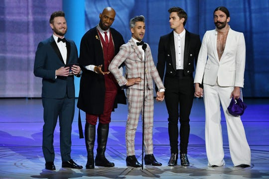 "The cast of ""Queer Eye"" presents the award for lead actor in a drama series."