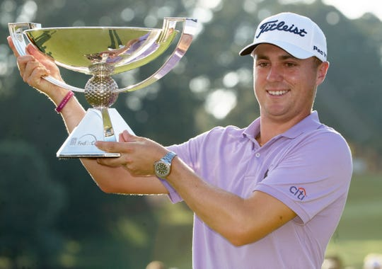 Last season Justin Thomas hoisted the trophy after winning the FedEx Cup.