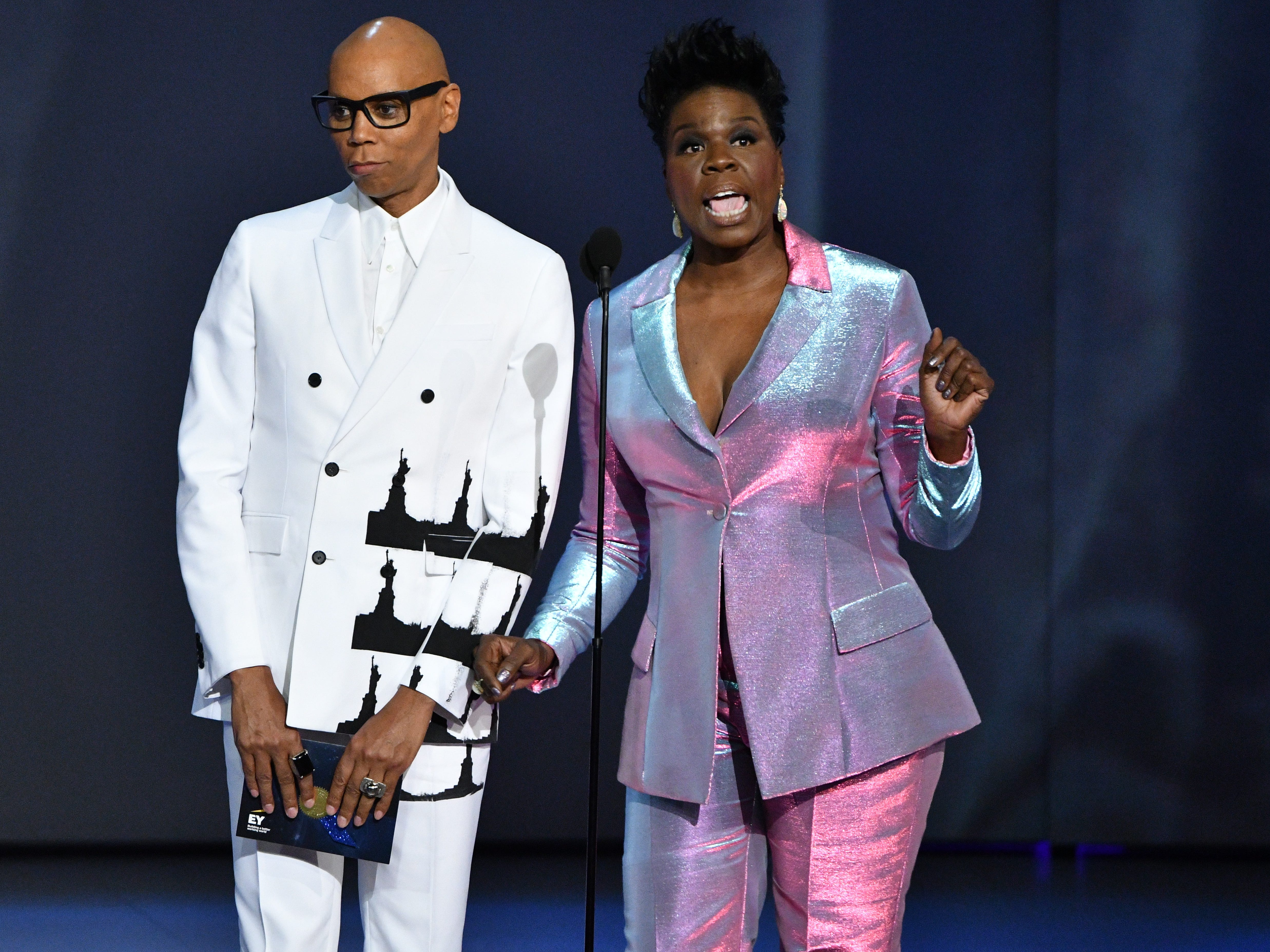 RuPaul Charles, left, and Leslie Jones present the award for lead actress in a limited series or movie.
