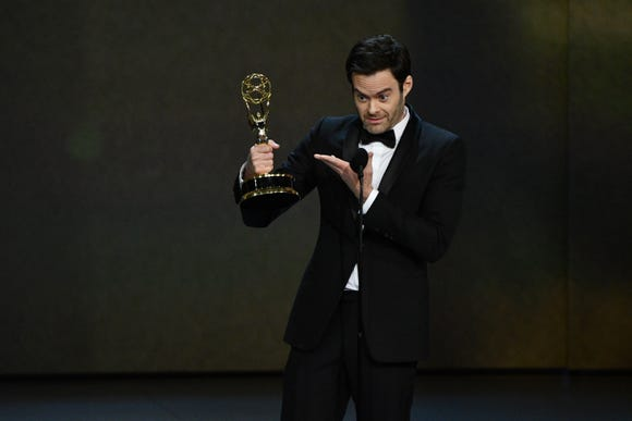 "Bill Hader accepts the award for lead actor in a comedy series for his role in ""Barry"" on HBO."