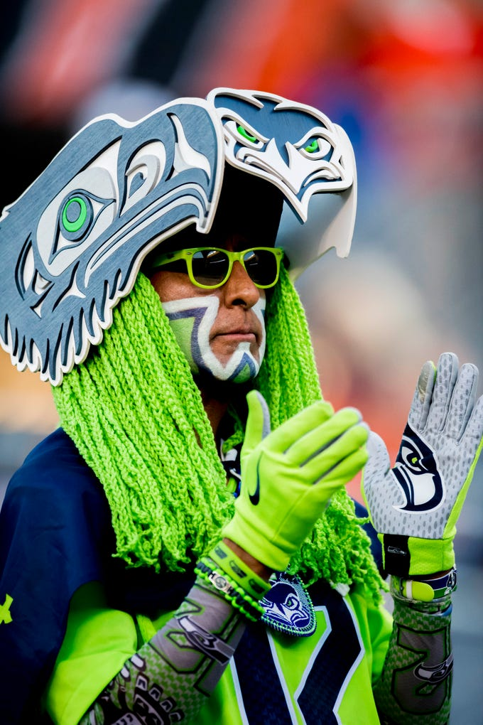 A Seattle Seahawks fan reacts prior to a game against the Chicago Bears at Soldier Field.