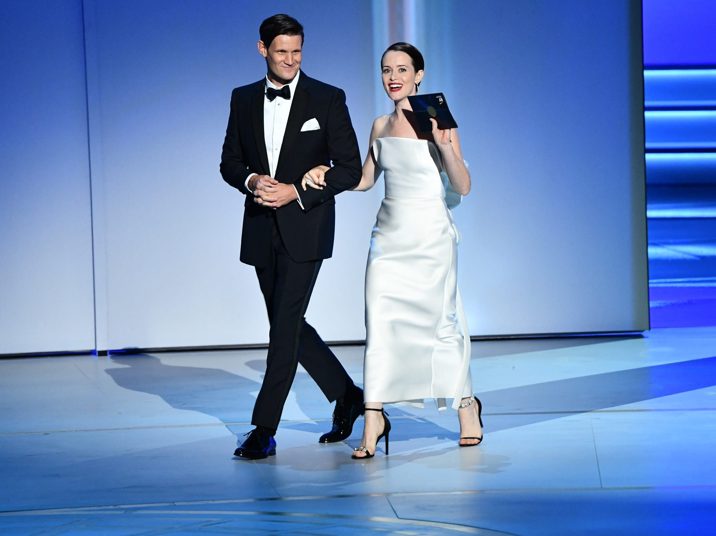 Matt Smith and Claire Foy present the award for supporting actor in a comedy series.