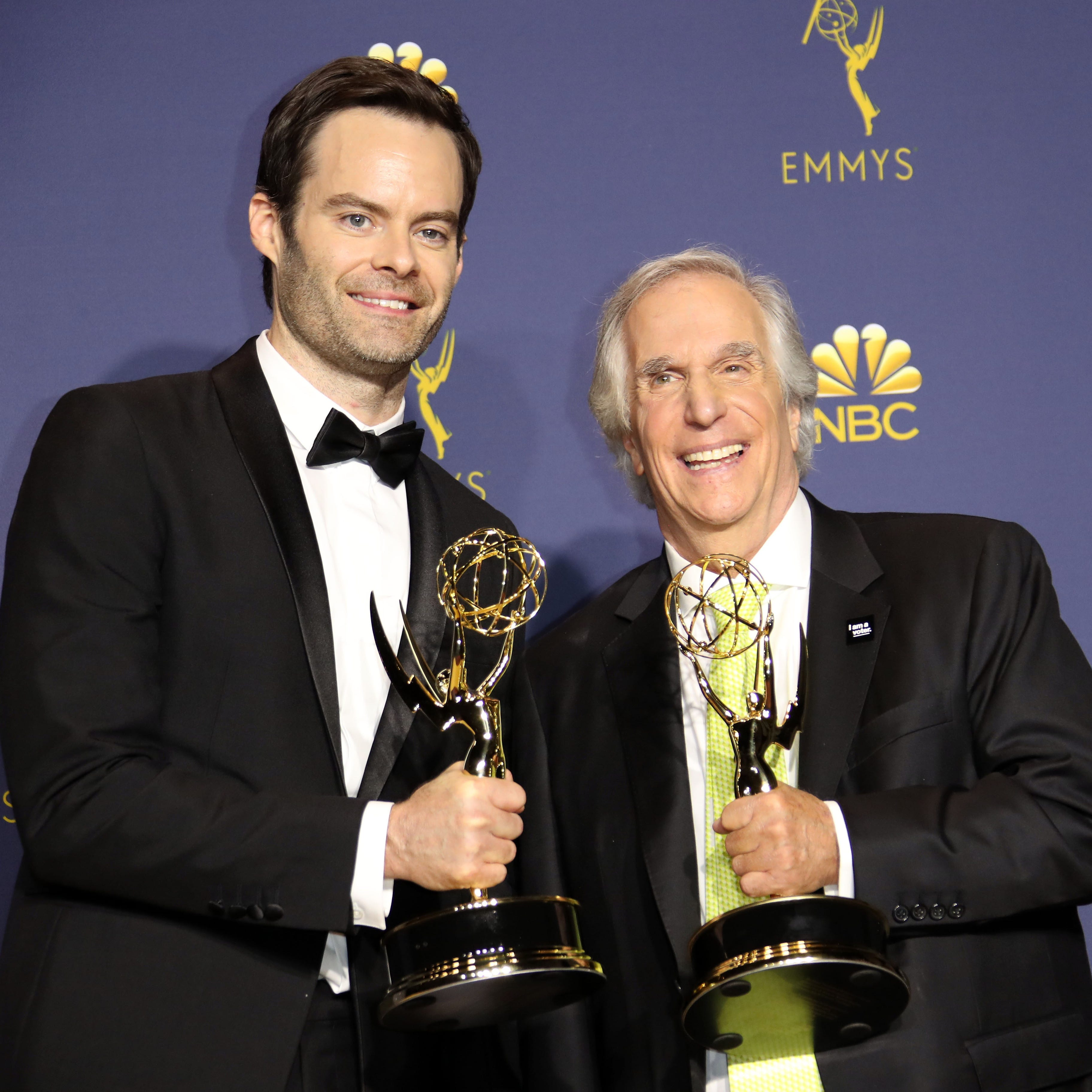 """Bill Hader and Henry Winkler show off their Emmys for HBO's """"Barry."""""""