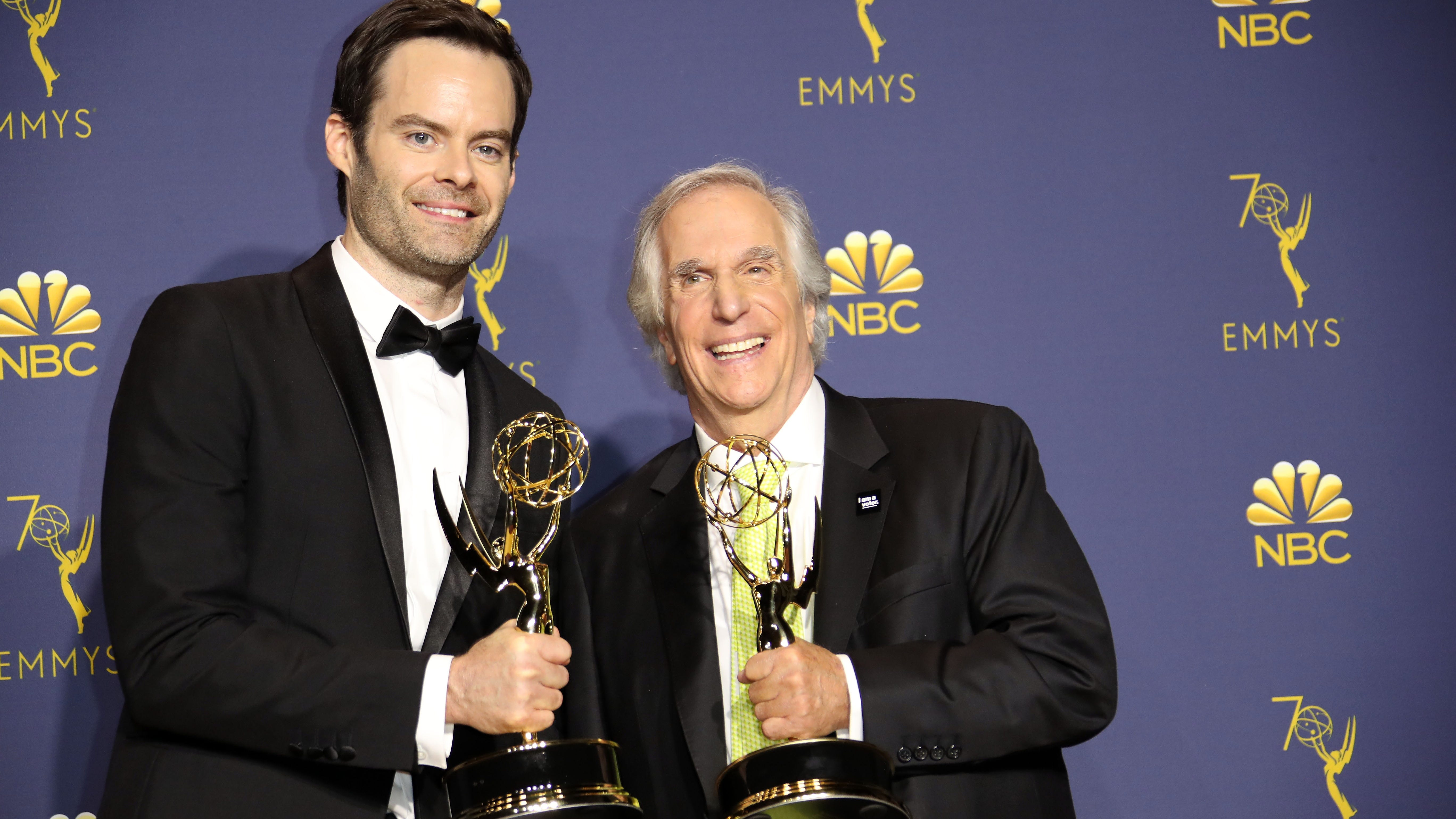 "Bill Hader and Henry Winkler show off their Emmys for HBO's ""Barry."""