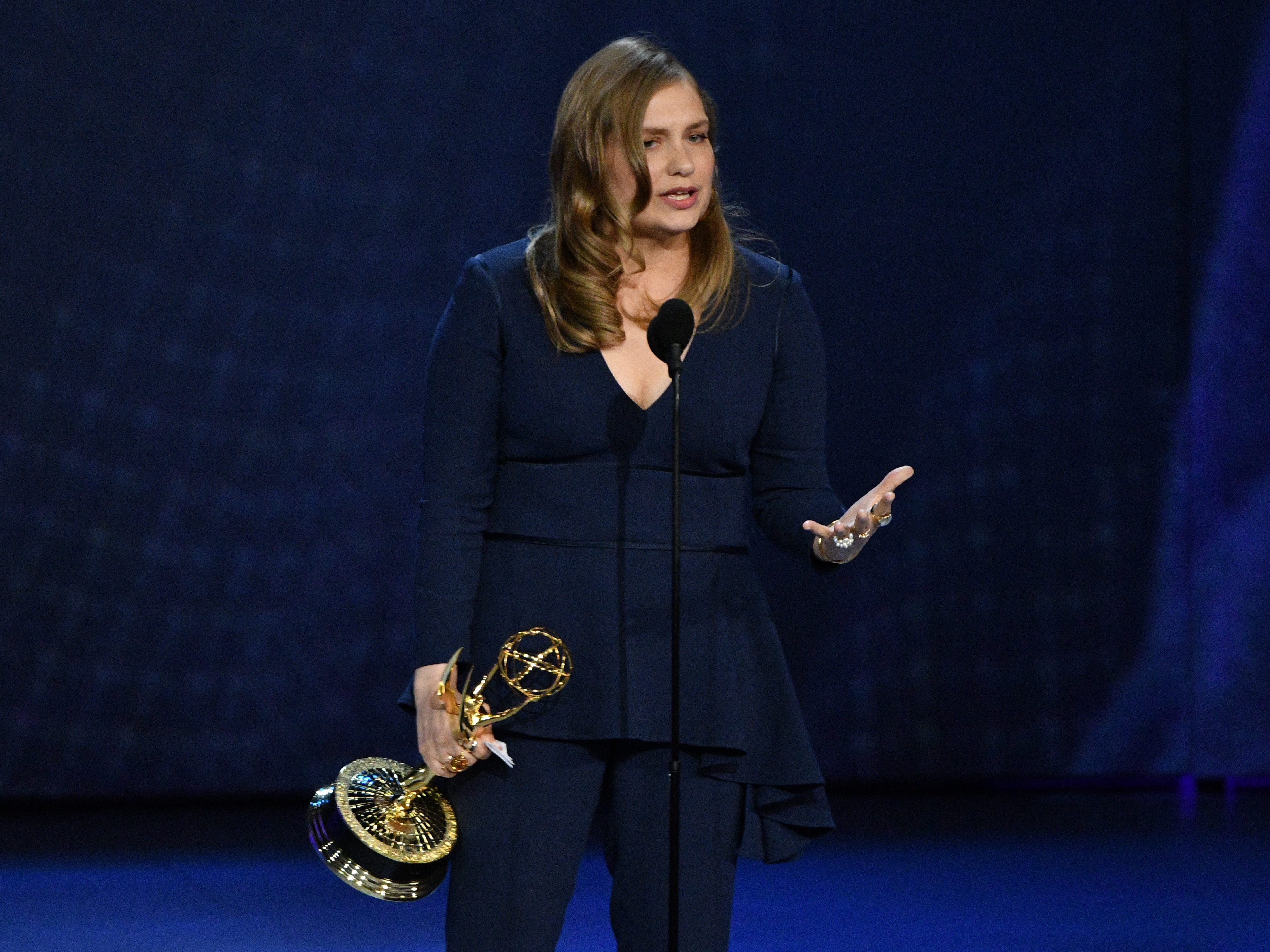 """Merritt Wever accepts the award for supporting actress in a limited series or movie for her role in """"Godless"""" on Netflix."""