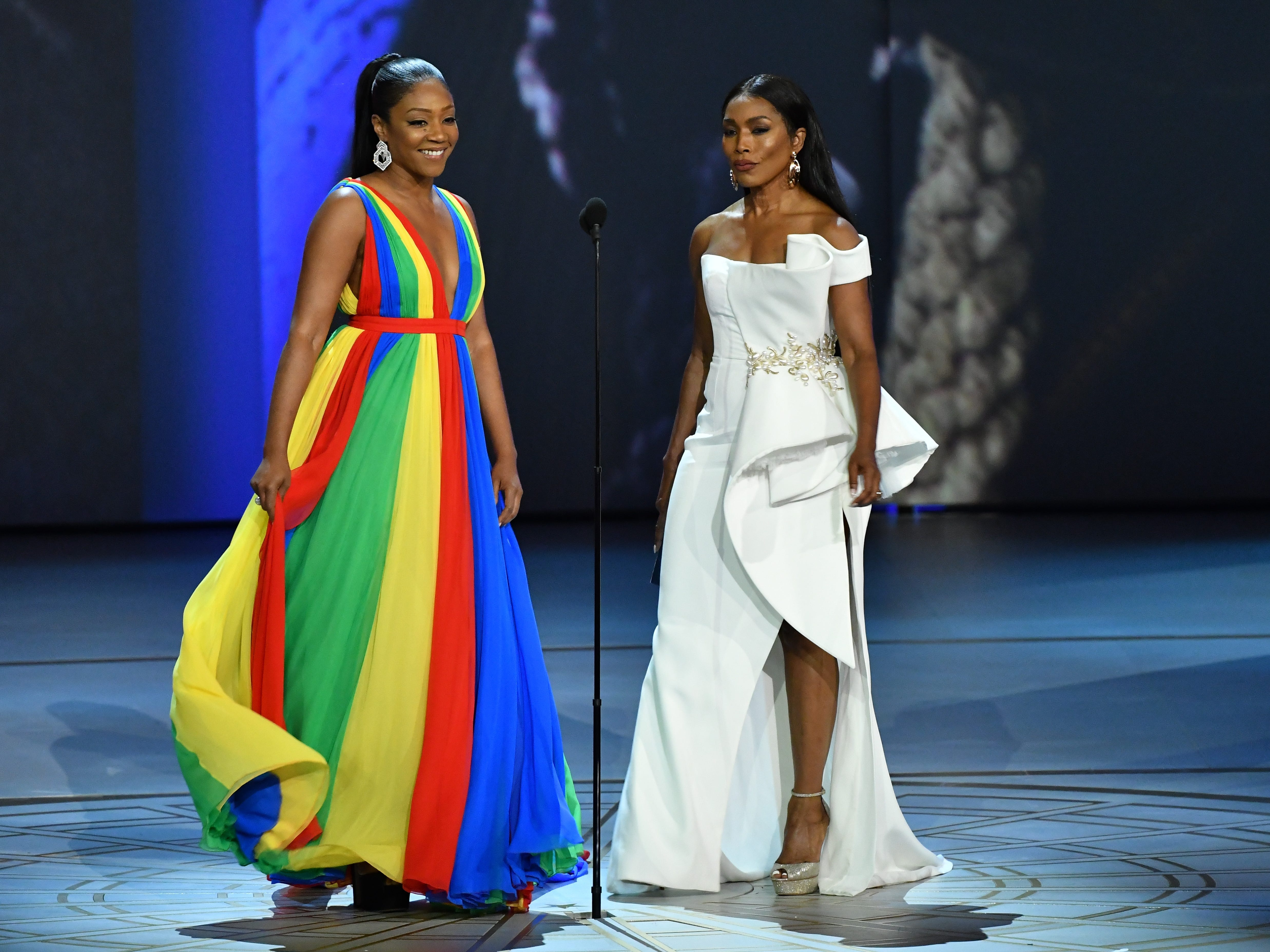 Tiffany Haddish, left, and Angela Bassett present the award for lead actress in a comedy series.