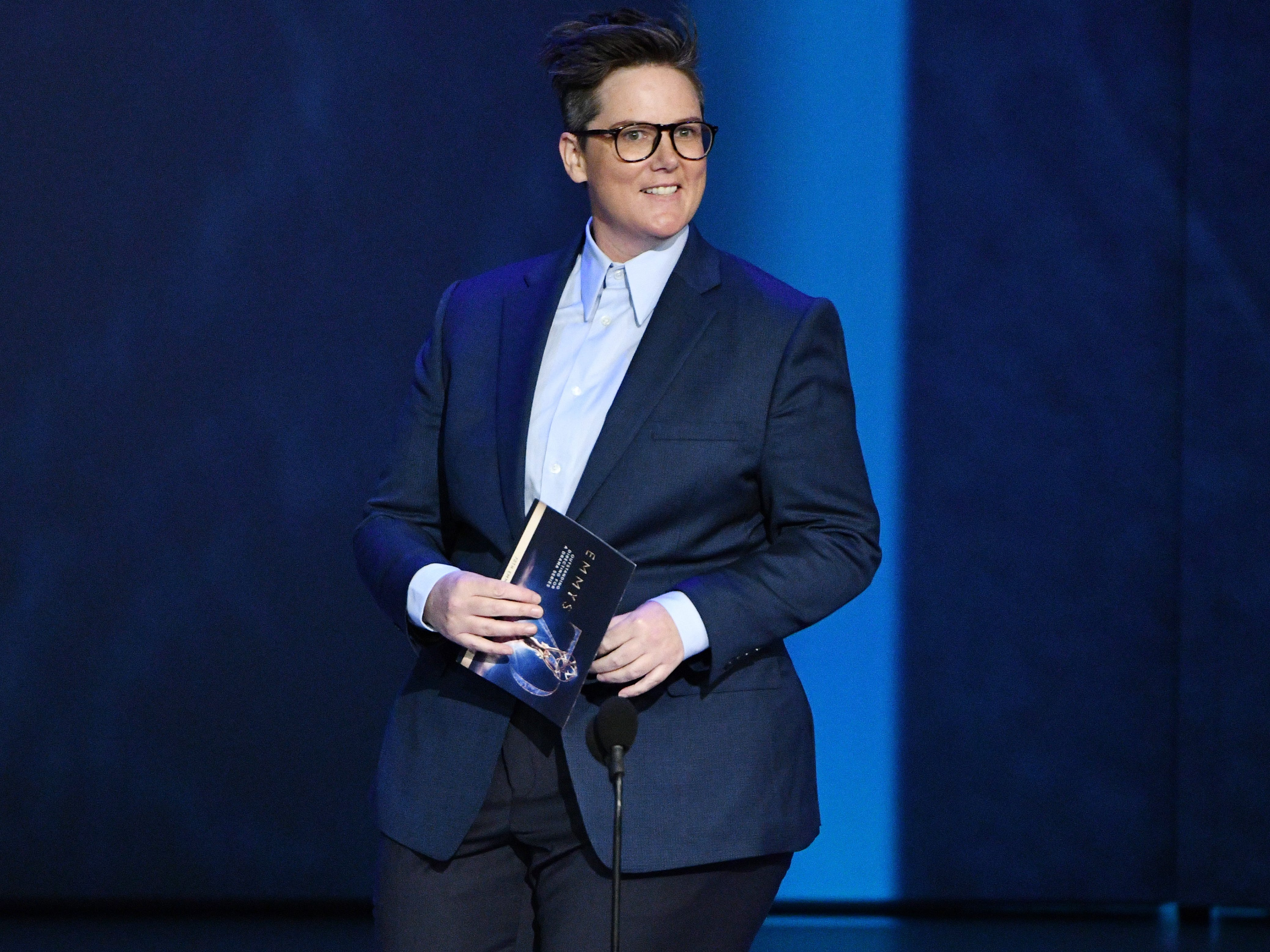 Hannah Gadsby presents the award for outstanding directing for a drama series.