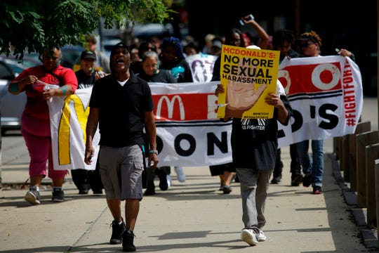 McDonald's employees and other fast food chain workers protest against sexual harassment in the workplace on Sept. 18, 2018 in Chicago.