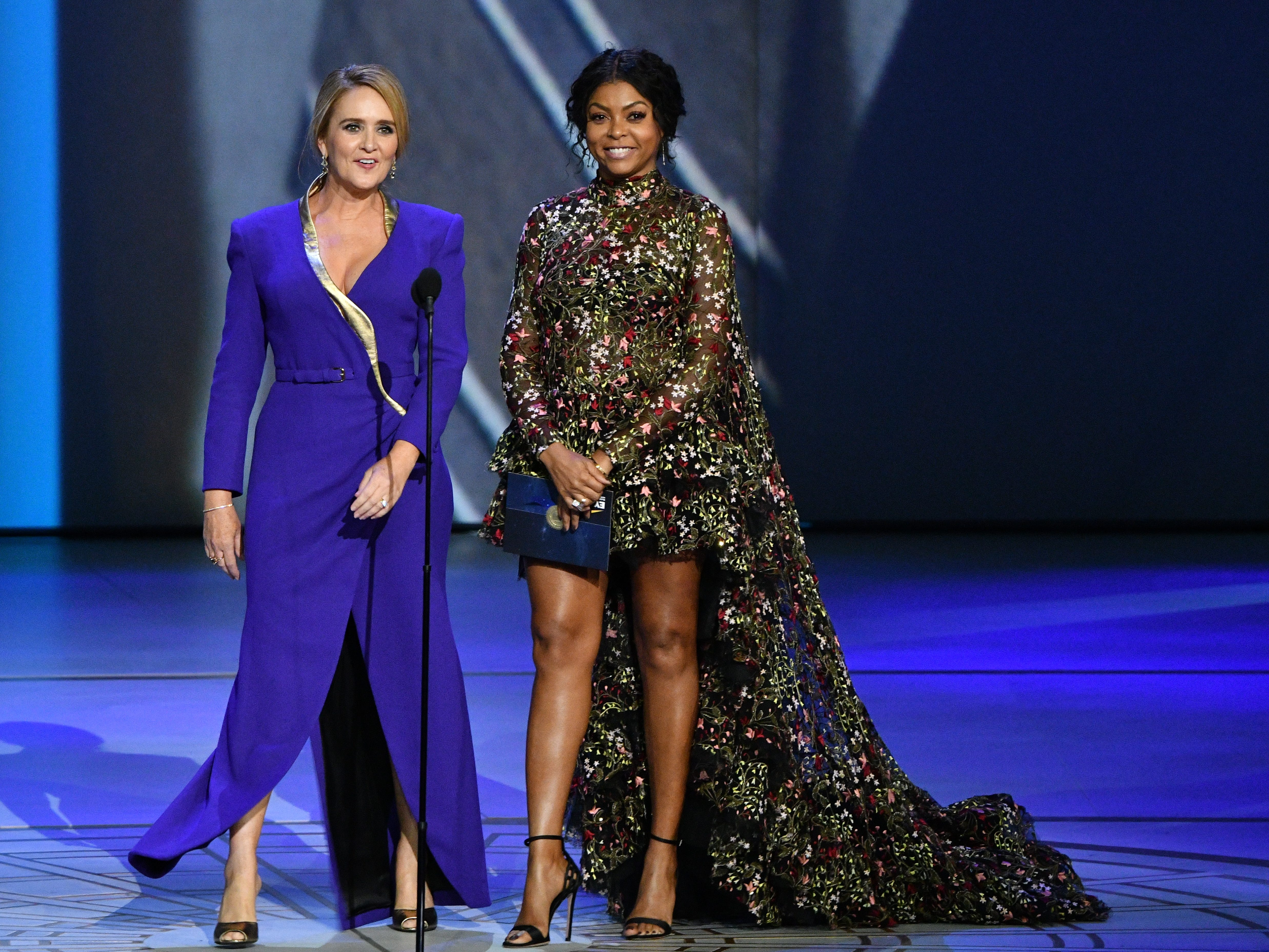Samantha Bee, left, and Taraji P. Henson present the award for supporting actor in a drama series.