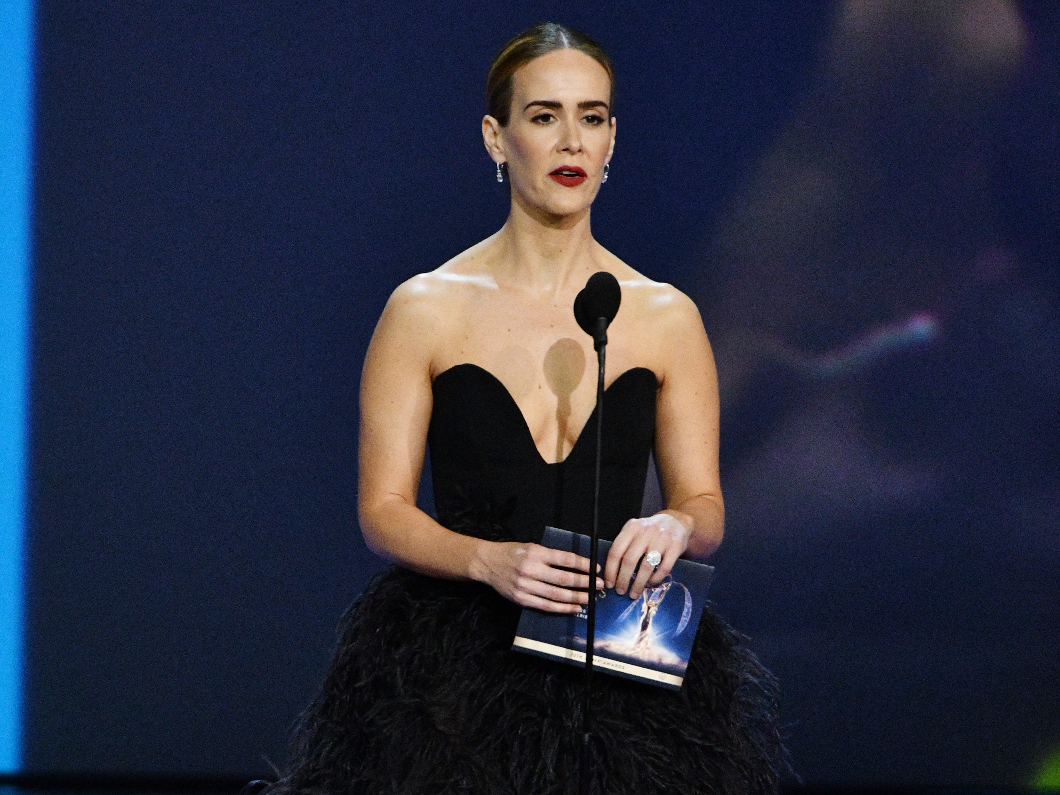 Sarah Paulson presents the award for lead actress in a drama series.