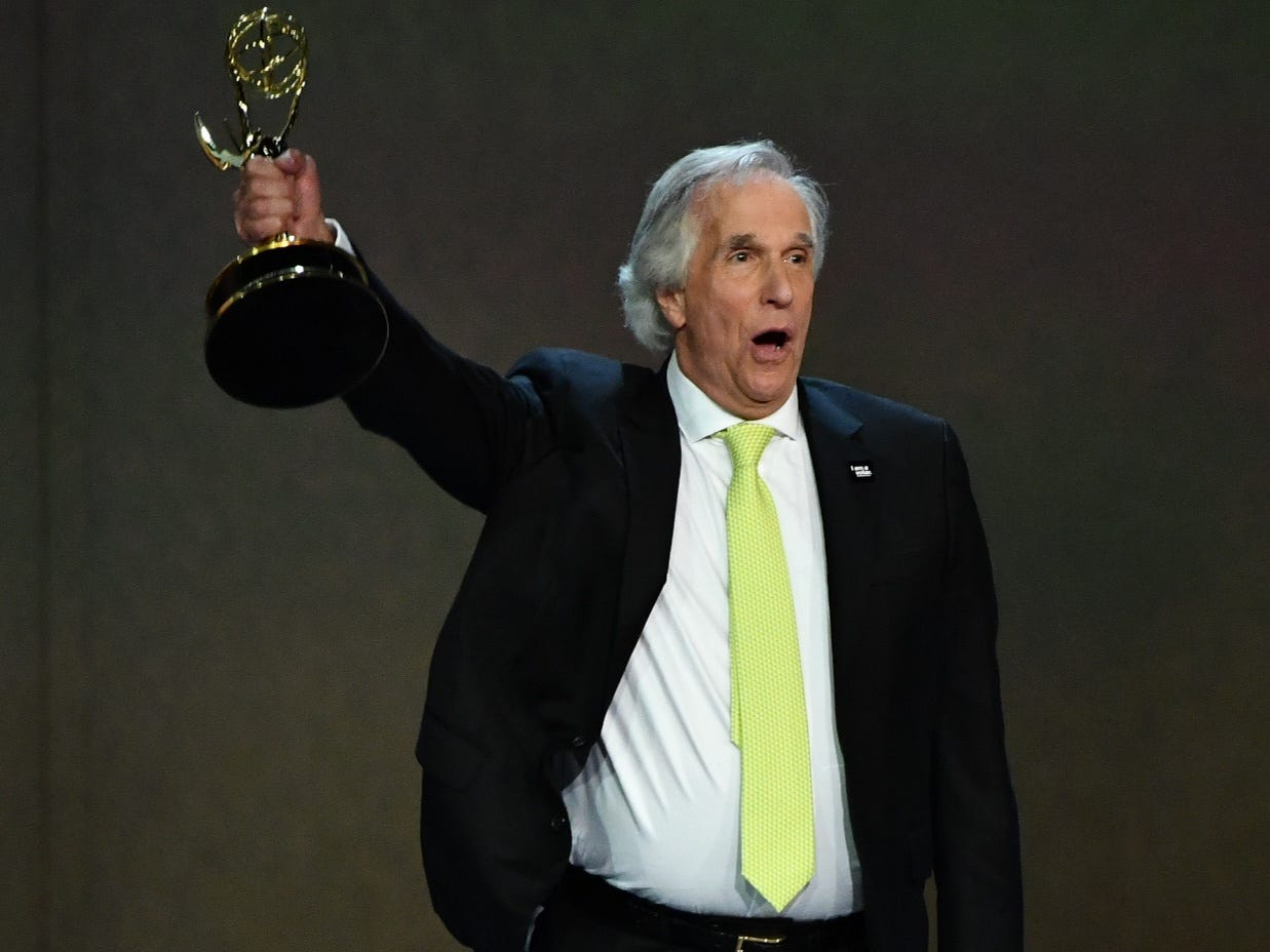 """Henry Winkler accepts the award for supporting actor in a comedy series for his role on """"Barry"""" on HBO."""