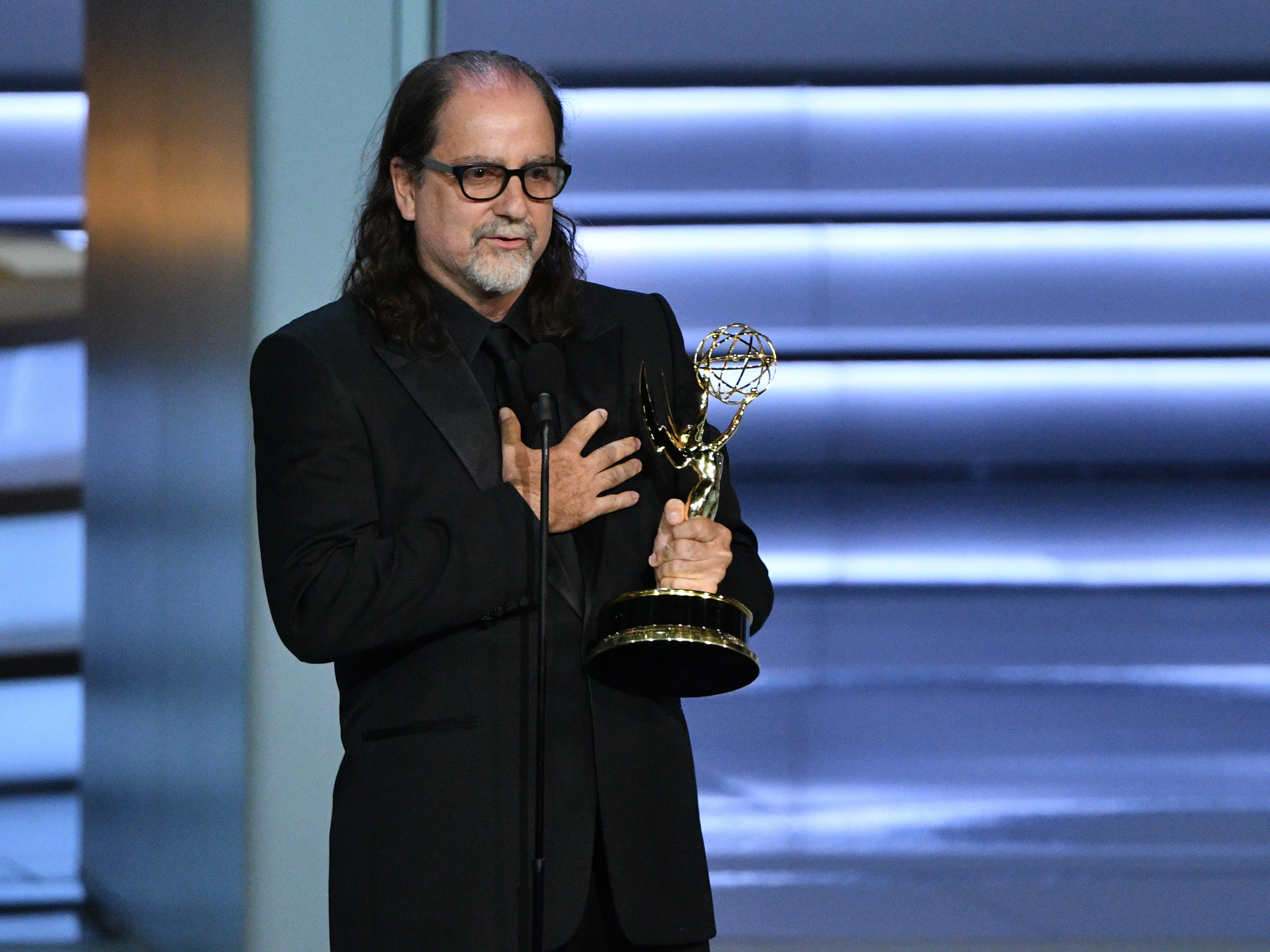 Glenn Weiss accepts the award for outstanding directing for a variety special.