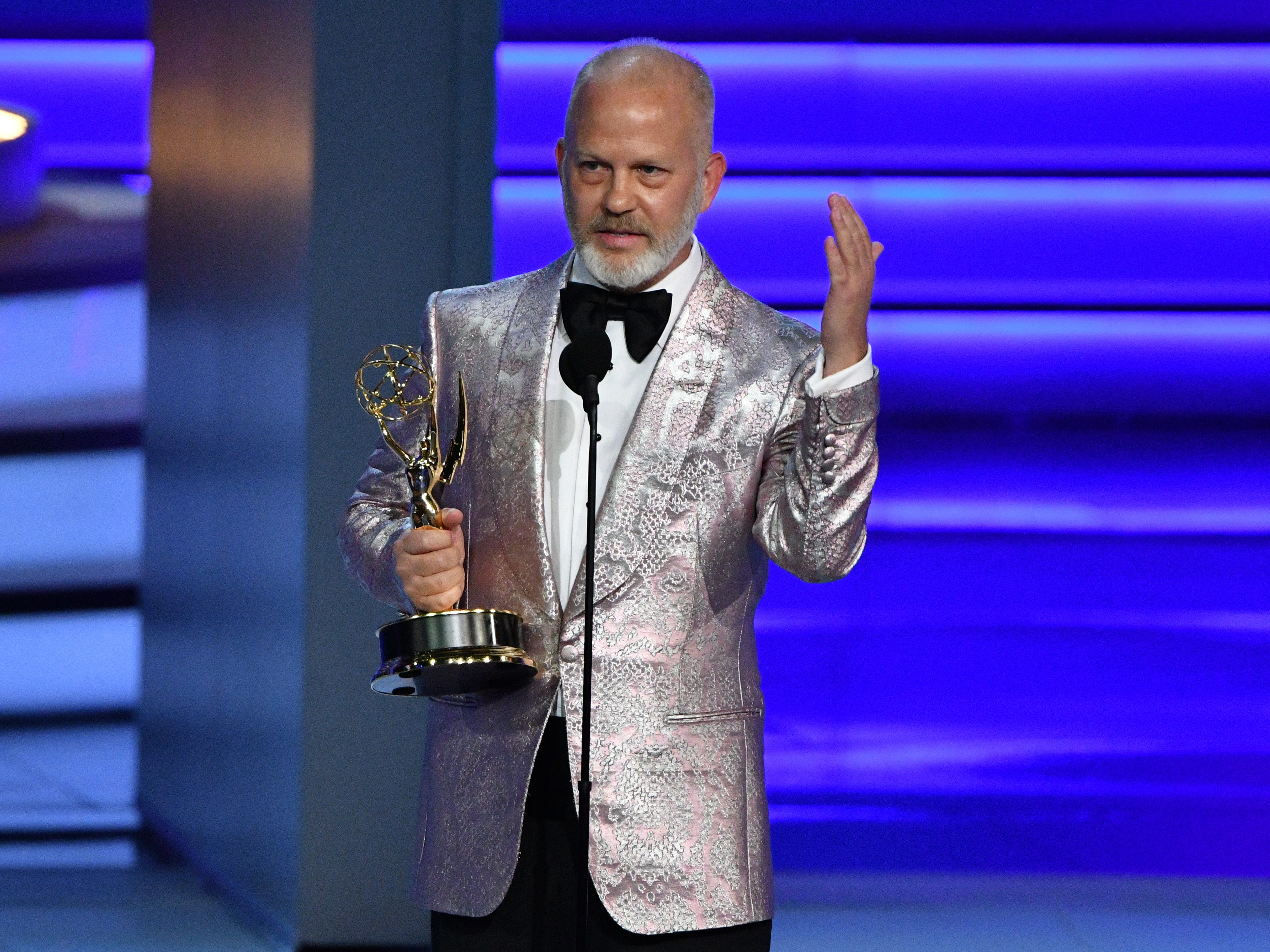 """Ryan Murphy accepts the the award for outstanding directing for a limited series, movie or dramatic special for his work on the FX Networks mini-series """"The Assassination Of Gianni Versace: American Crime Story."""""""