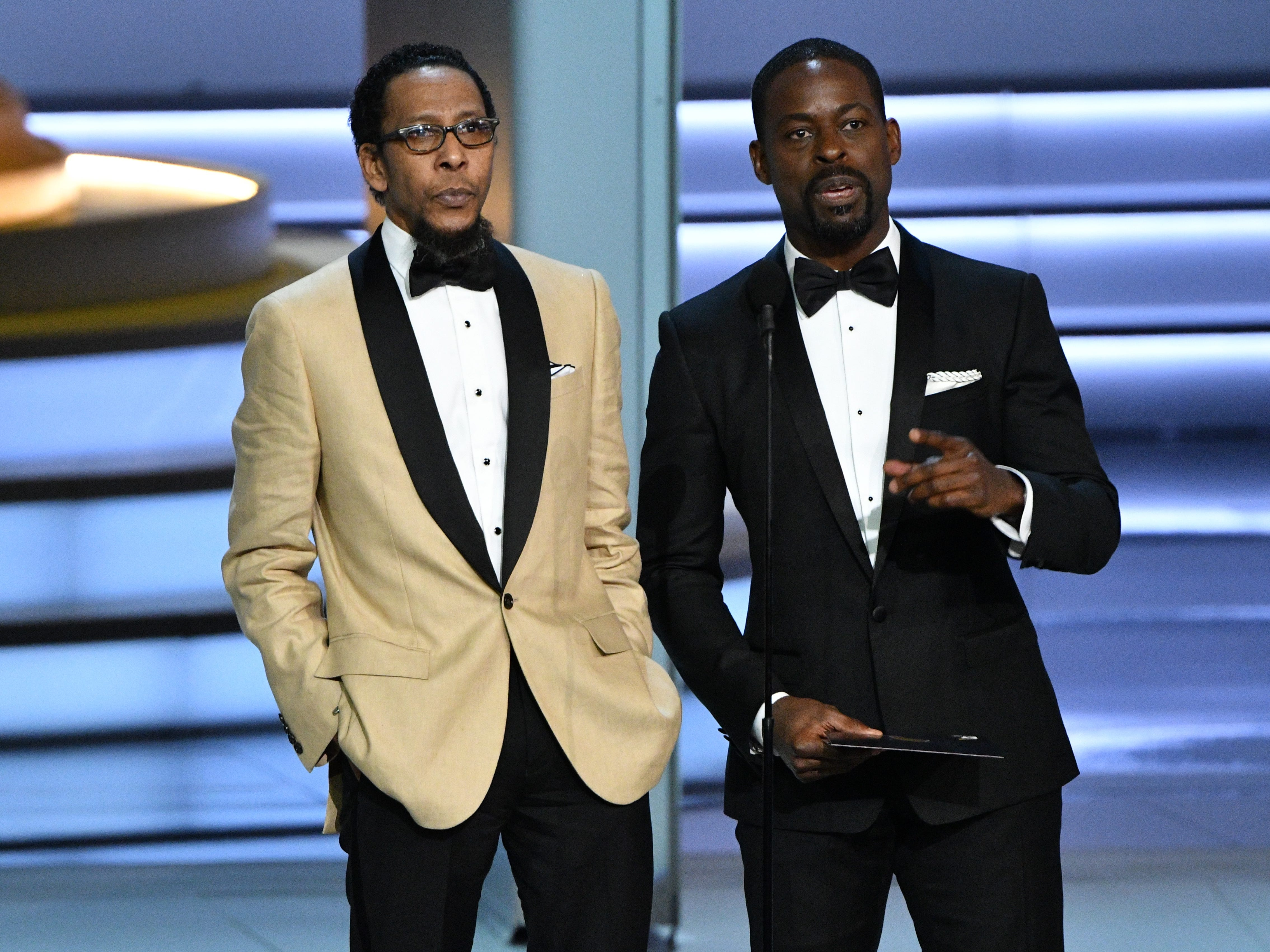 Ron Cephas Jones and Sterling K. Brown present the award for outstanding directing for a variety special.