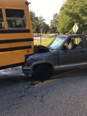 A bus was rear-ended in Anderson County Wednesday afternoon. The seven students on board weren't injured, a district official said.