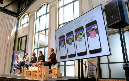 Claire Kaptinski, left, leads a panel of successful small business owners in the Upstate to a crowd during a free seminar, Facebook Boost Your Business, at The Bleckley Station in downtown Anderson on Wednesday. From left; Joseph Thompson of Madworld Haunted Attraction, Myles Hagan of Geoff's Famous Tables, John Doolittle of Doolittle's Restaurant, and Angela Cox of NOJ Boutique, take turns speaking to the crowd. Facebook has a goal to offer the boost your business seminar to over 1 million small business owners by 2020.