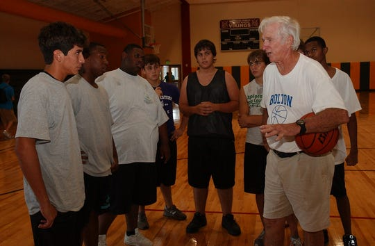 Billy Allgood (right) served as athletics director, baseball and boys basketball coach at Avoyelles Public Charter School after a long career at Louisiana College.