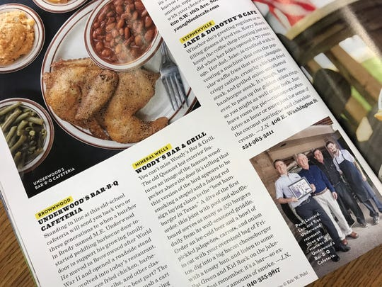 Underwood's Bar-B-Q Cafeteria in Brownwood and Jake & Dorothy's Cafe in Stephenville are highlighted in this page of the October issue of Texas Highways.