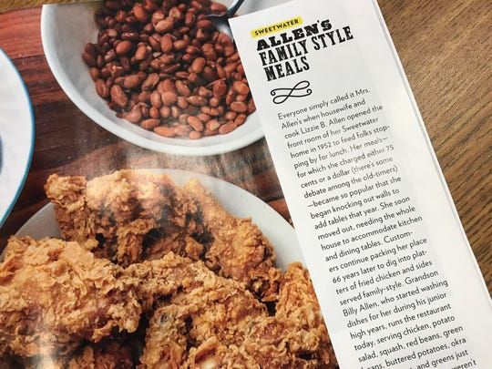 Fried chicken and sides from Allen's Family Style Meals cafe in Sweetwater are pictured in the Texas Highways October 2018 issue.