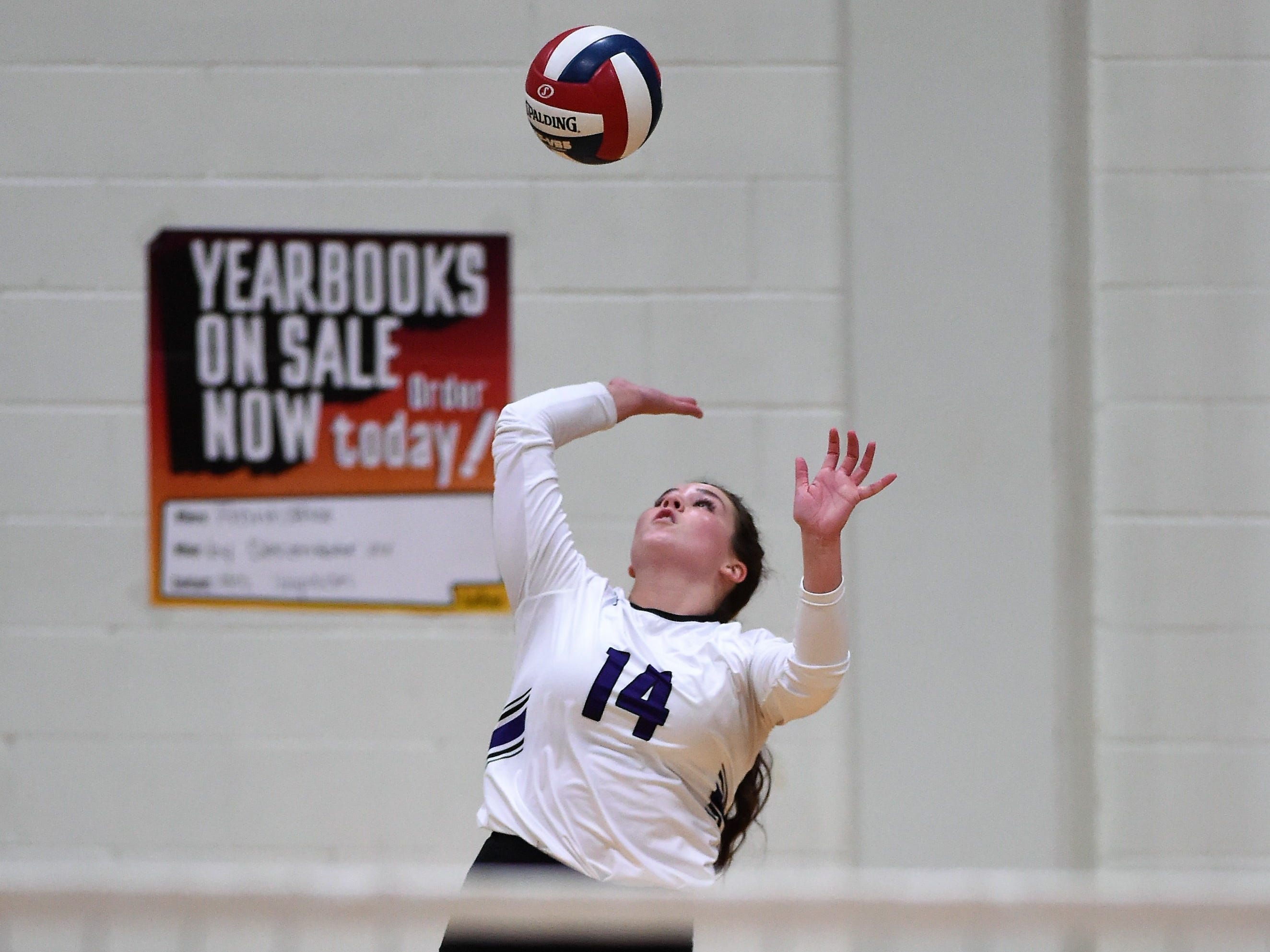 Wylie's Ginger Lanman (14) serves during the Lady Bulldogs' sweep of Big Spring on Tuesday, Sept. 18, 2018.