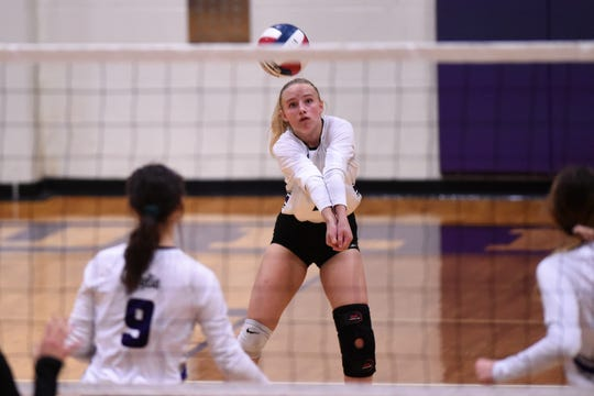 Wylie sophomore Rylie Hays (7) bumps a pass during nondistrict play. The Lady Bulldogs have leaned on Hays, fellow sophomore Avery Wimberly and two freshmen in Lilly Kate Doby and Lexie Miller this season.