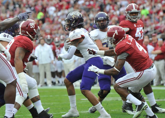 Western Carolina's Spearman Robinson put Catamounts on board first with a touchdown reception in first quarter at Alabama in 2014