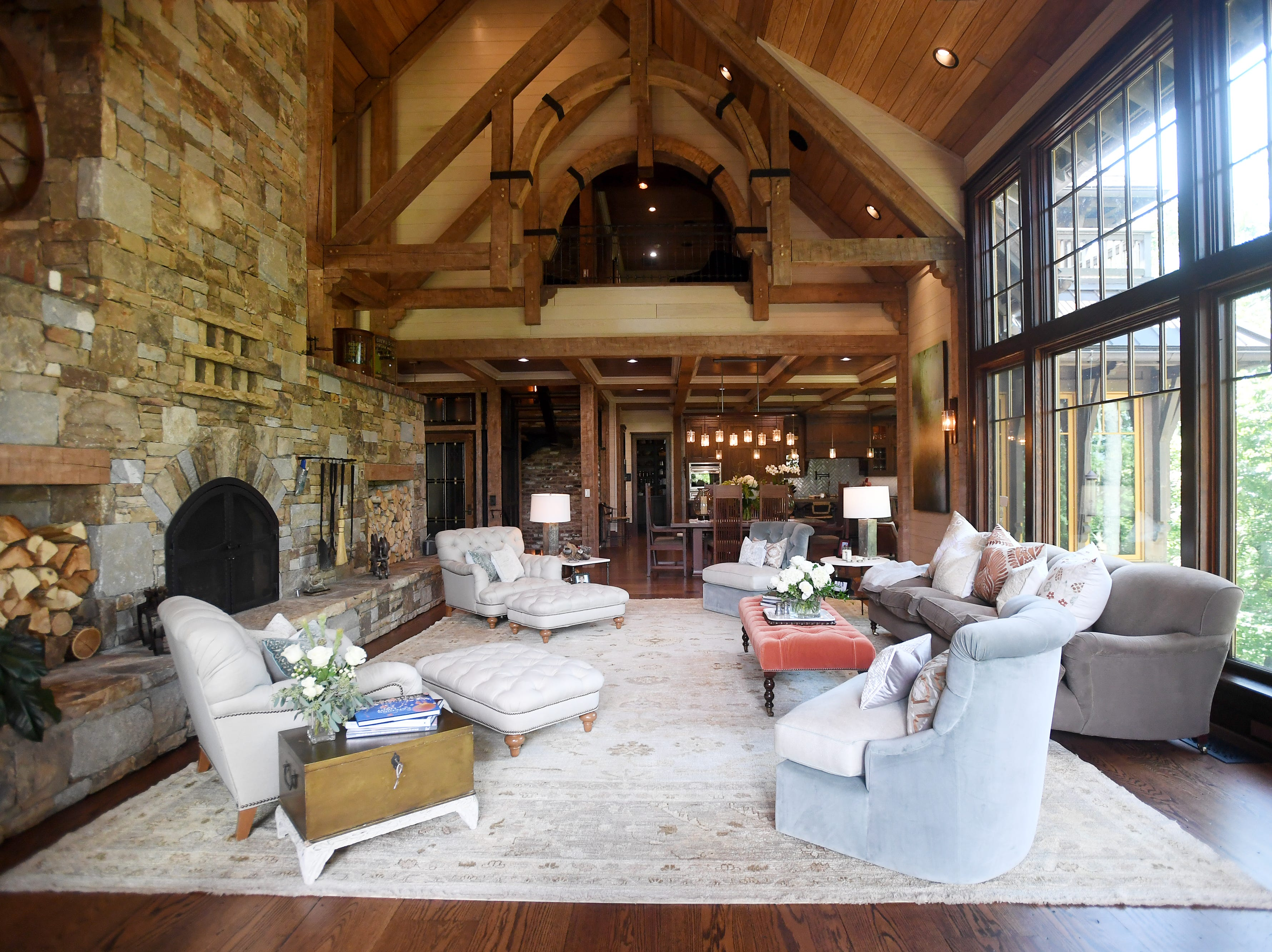The great room inside Bobbye and Ken Bowdon's Balsam Mountain Preserve home.