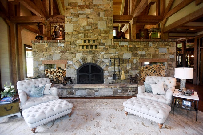 The fireplace in the great room of the Balsam Mountain Preserve home of Bobbye and Ken Bowdon.