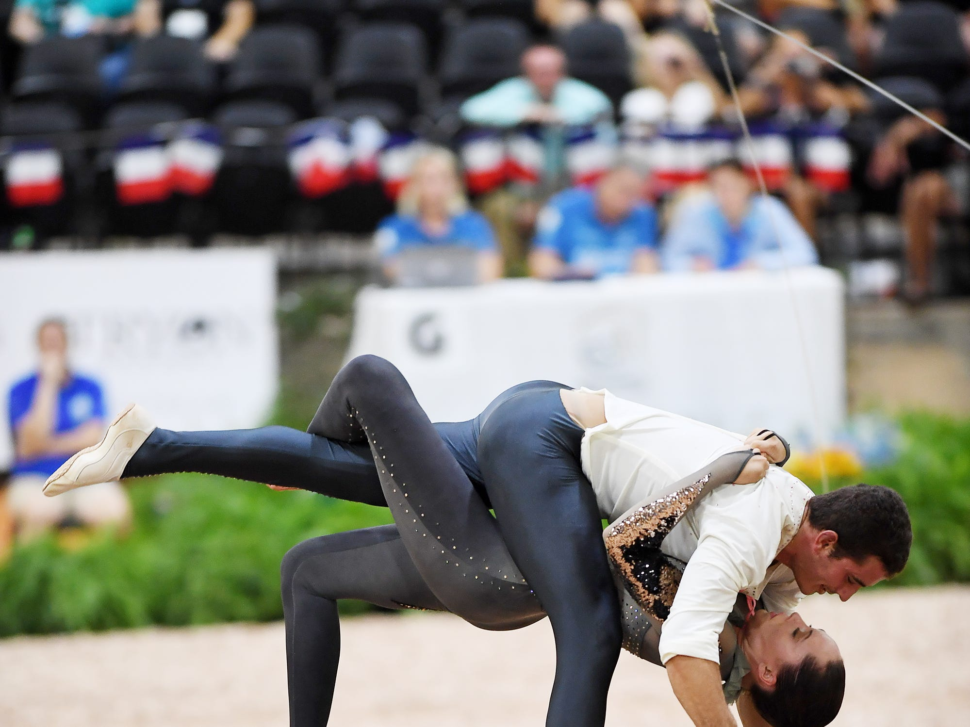 Daniel Janes and Haley Smith compete in the pas de deux vaulting freestyle on Diva 506 at the World Equestrian Games Sept. 19, 2018.