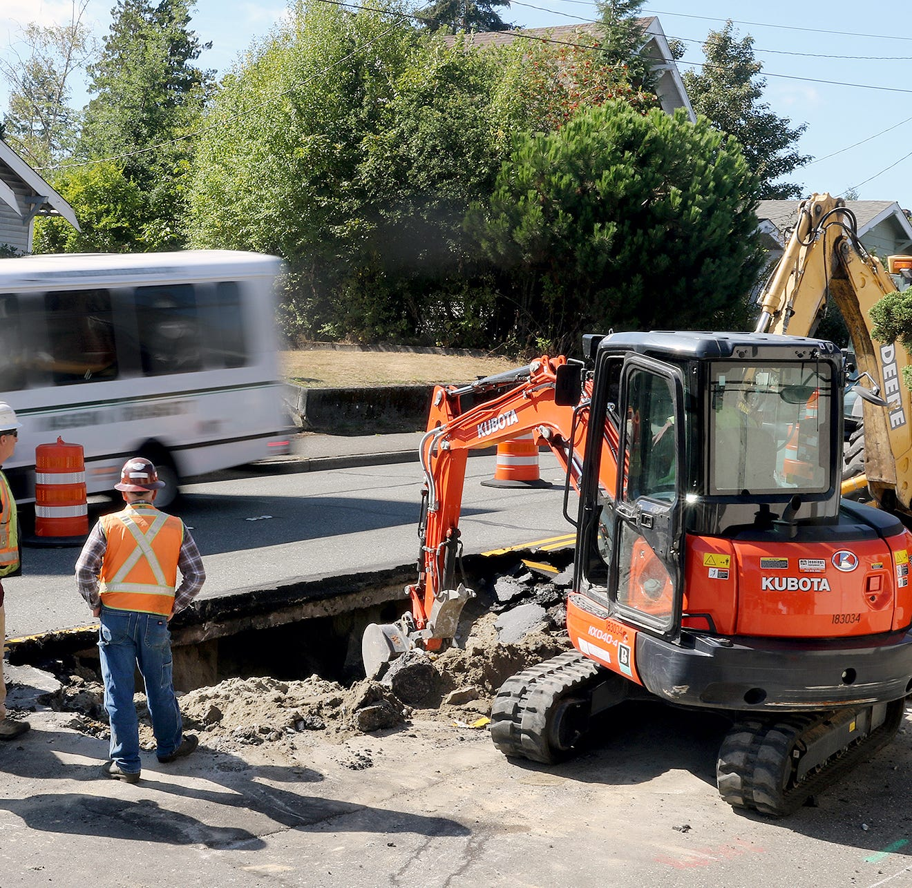 Sinkhole slowing traffic on Burwell Street in Bremerton