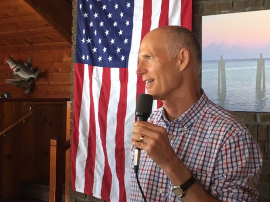 Florida Gov. Rick Scott, who is now campaigning for Bill Nelson U.S. Senate seat, speaks to about 50 people at a private campaign event at Shiloh's Steak & Seafood restaurant in Titusville.