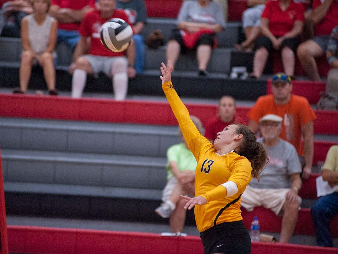 Colonel Crawford's Allison Teglovic pushes a ball over the net.