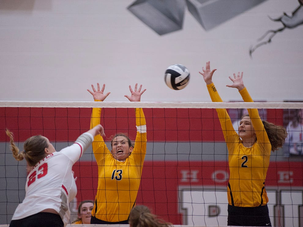 Colonel Crawford's Allison Teglovic and Hannah Plesac attempt to block a shot from Buckeye Central's Molly Geissman.