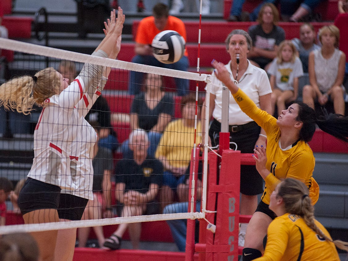 Colonel Crawford's Izzie Stalter hits over the net toward Buckeye Central's Alivia Niese.