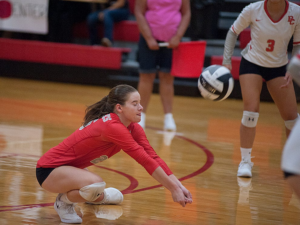 Buckeye Central's Lydia Ackerman receives a Colonel Crawford serve.