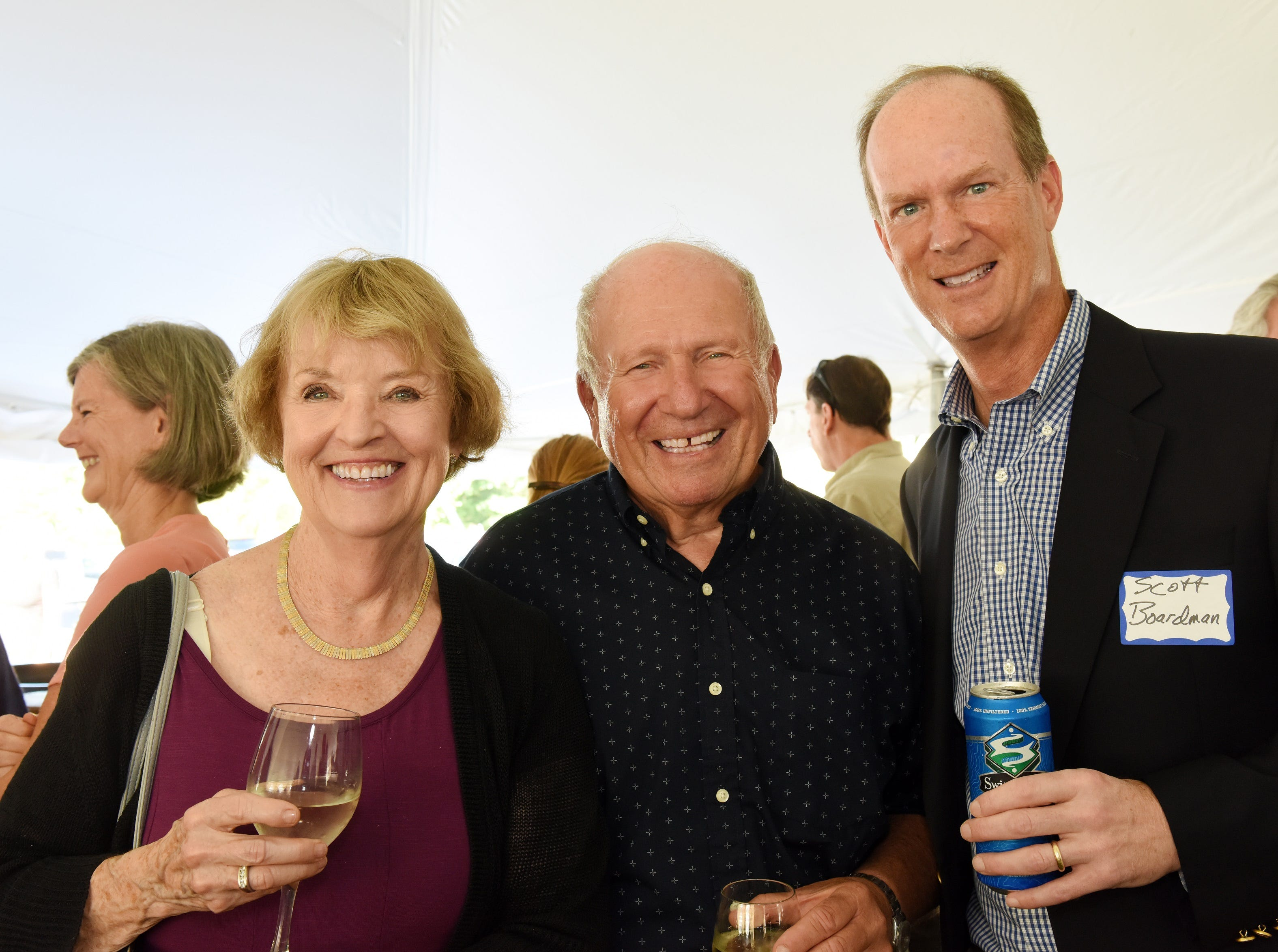 Maggie Burti and Gus Burti (retired from CBHB) with Scott Boardman attend the Coldwell Banker Hickok & Boardman 60th Anniversary on September 13, 2018, with current and past agents and community leaders in Burlington, VT.