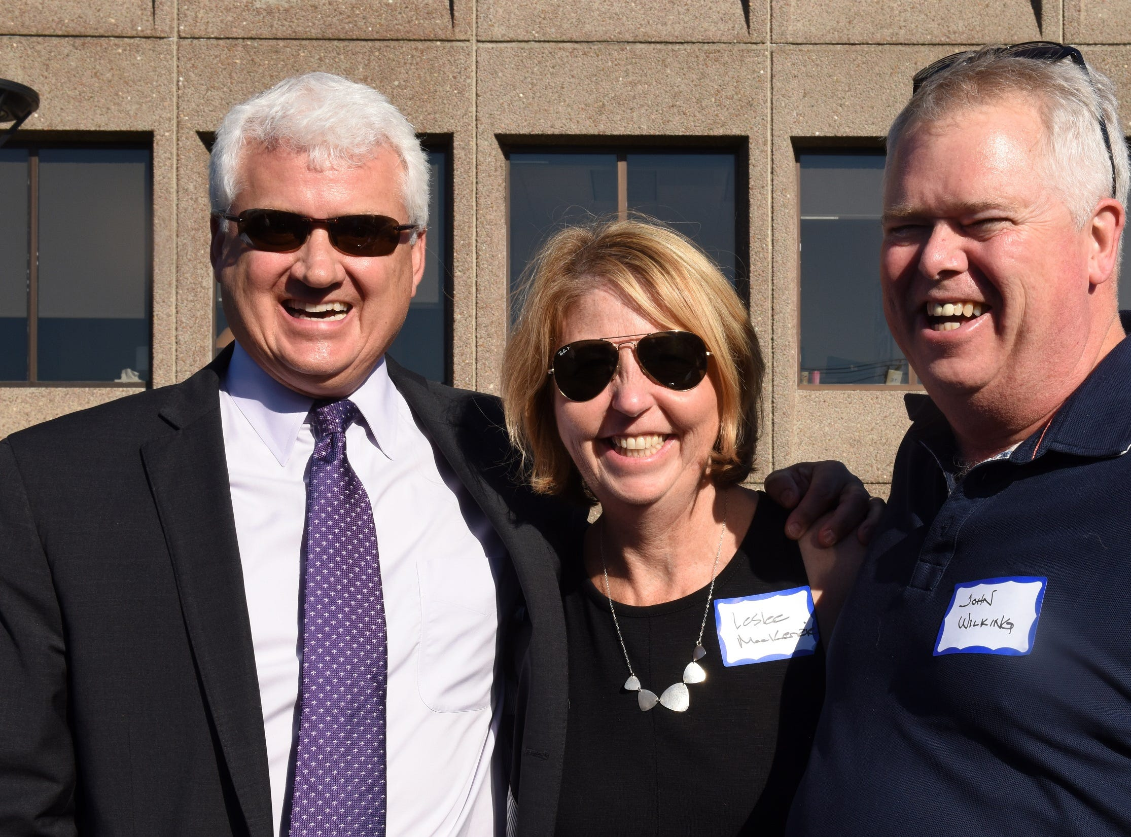 Michael Seaver of Peoples United Bank, Leslee MacKenzie of CBHB, John Wilking of Neville Companies attend the Coldwell Banker Hickok & Boardman 60th Anniversary on September 13, 2018, with current and past agents and community leaders in Burlington, VT.