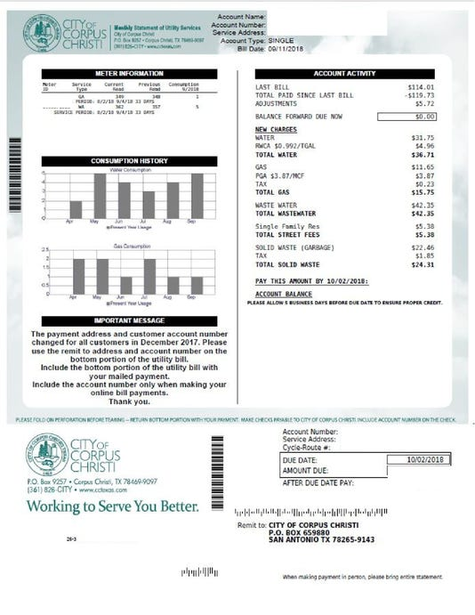 Sample Corpus Christi Utility Bill