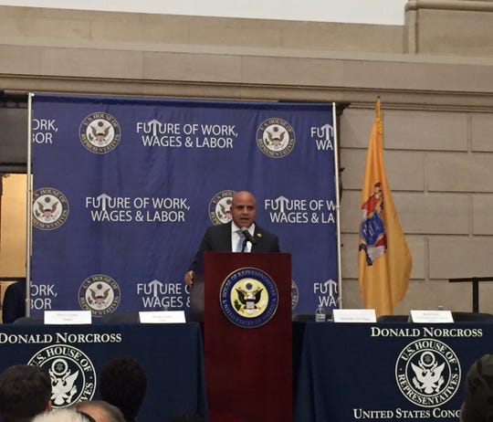 Camden Mayor Frank Moran speaks at a forum on jobs and opportunities for city residents. Moran announced a new initiative to help match Camden residents with jobs in the city.