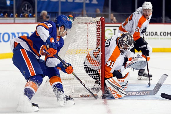 Anthony Stolarz thought he was splitting the game, but he played the whole thing and saved all but one of the 32 shots he faced.