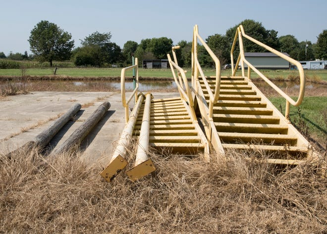The steps used with the old burn building lay close to where the new one will be built and outline the proximity of where Angie Hupp's horses are kept to the building. Hupp made calls inquiring about the construction of a burn building so close to her property.