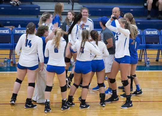 Southeastern celebrates defeating Unioto in the first set played at Southeastern High School Tuesday night. Unioto would go on to defeat Southeastern 3-1.