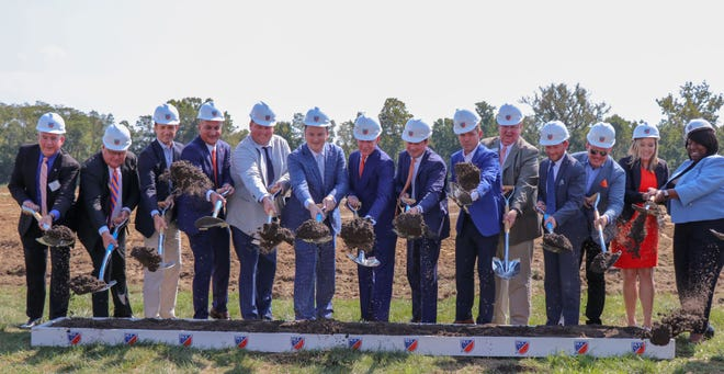 FC Cincinnati owners and staff, along with other officials, conduct a ceremonial groundbreaking for the club's training complex in Milford, Ohio.