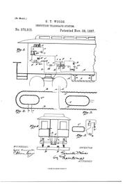 Patent No. 373,915 for an Induction Telegraph System was granted to Granville T. Woods in 1887.