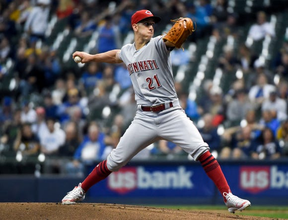 Sep 18, 2018; Milwaukee, WI, USA;  Cincinnati Reds pitcher Michael Lorenzen (21) throws a pitch in the first inning against the Milwaukee Brewers at Miller Park.
