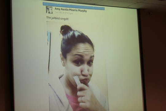 Amy Murphy's last Facebook post, the day of her slaying, was displayed on a screen for the jury.