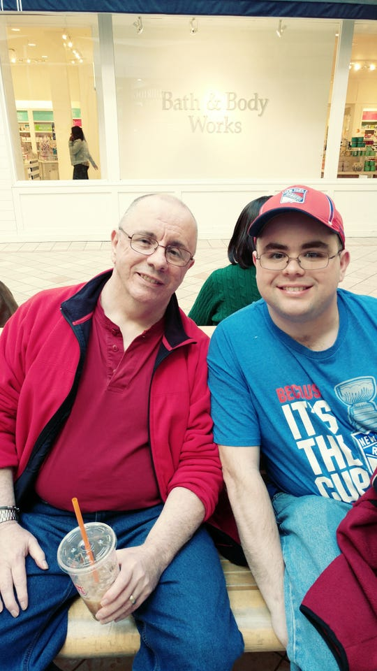 Early onset Alzheimer's patient Matthew Sloan, 65, with son Josh