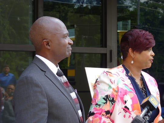 Plainfield Mayor Adrian Mapp and Second Street Youth Center Executive Director Leah Dade at the ribbon cutting of the new youth center on Plainfield Avenue.