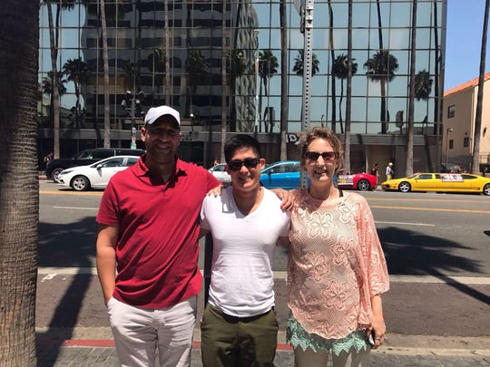 Youssef Katan, Christopher Lu and Madeline Katan on a visit to Los Angeles.